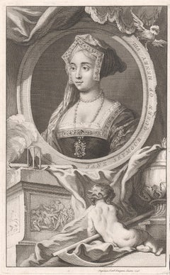 Jane Seymour, Queen of Henry VIII, royalty portrait engraving, 1746