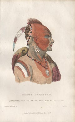 Sewessissing Chief of the Eowah Indians, Native American portrait engraving
