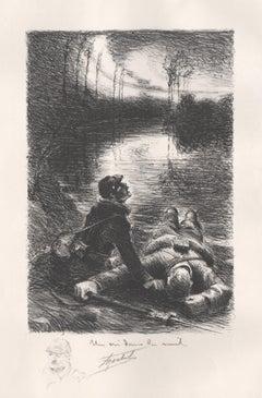 Un cri dans la nuit, World War I lithograph by Francis Abel Truchet, 1914