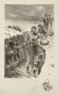 L'heure de la soupe a aquatique city, World War I lithograph by Truchet, 1914