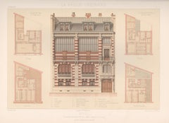 French architecture house design lithograph, late 19th century, 1878