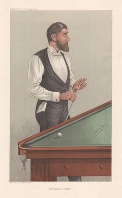 John Roberts, billiards player, Vanity Fair portrait chromolithograph, 1905