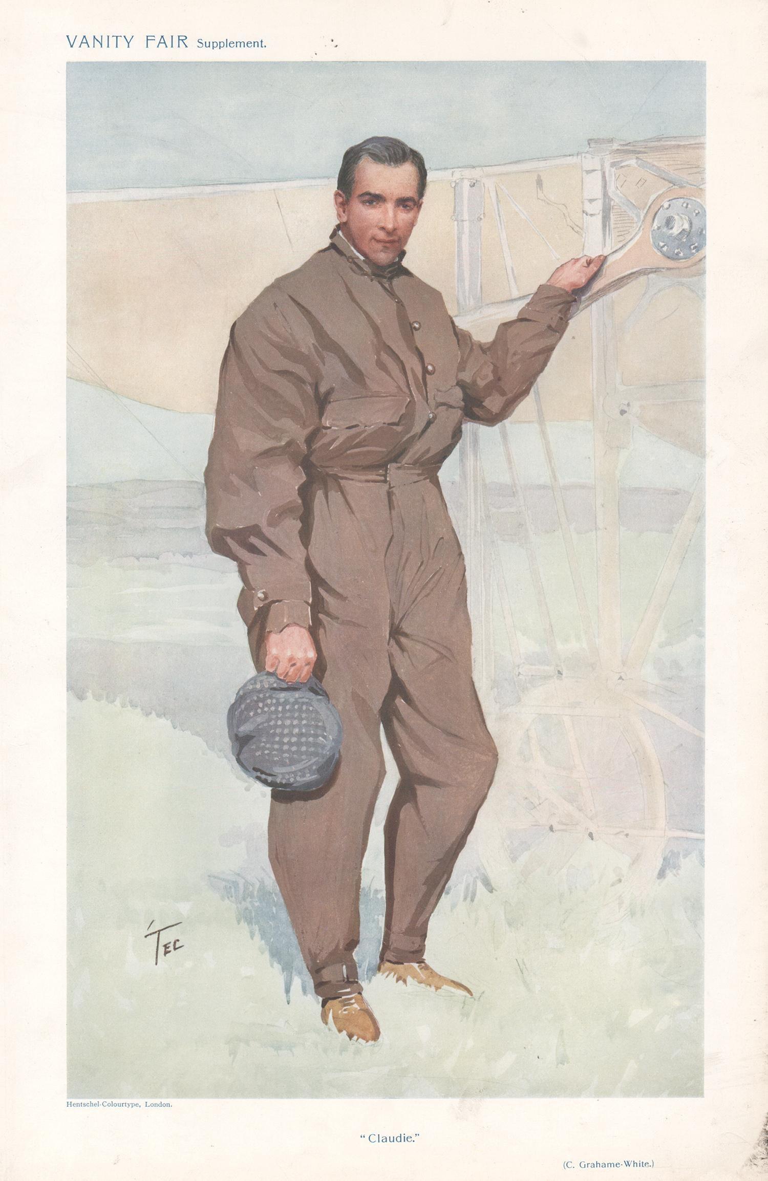 Claude Grahame-White, aviator, Vanity Fair portrait chromolithograph, 1911