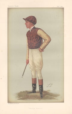 George Barrett, jockey, Vanity Fair horse racing portrait chromolithograph, 1887