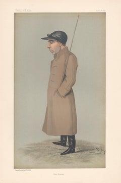 Samuel Loates, jockey, Vanity Fair horse racing portrait chromolithograph, 1896
