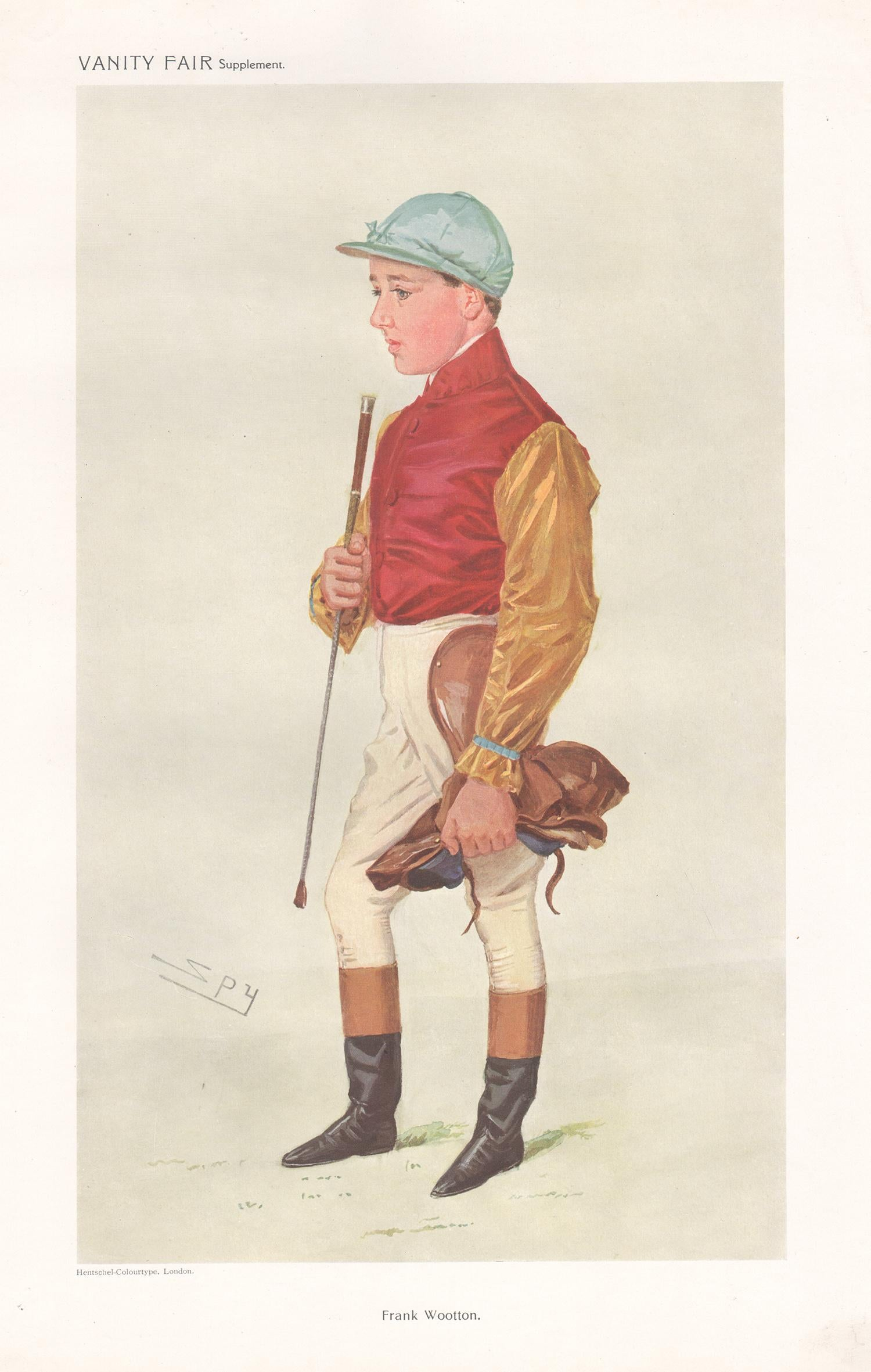 Frank Wootton, jockey, Vanity Fair horse racing portrait chromolithograph, 1909