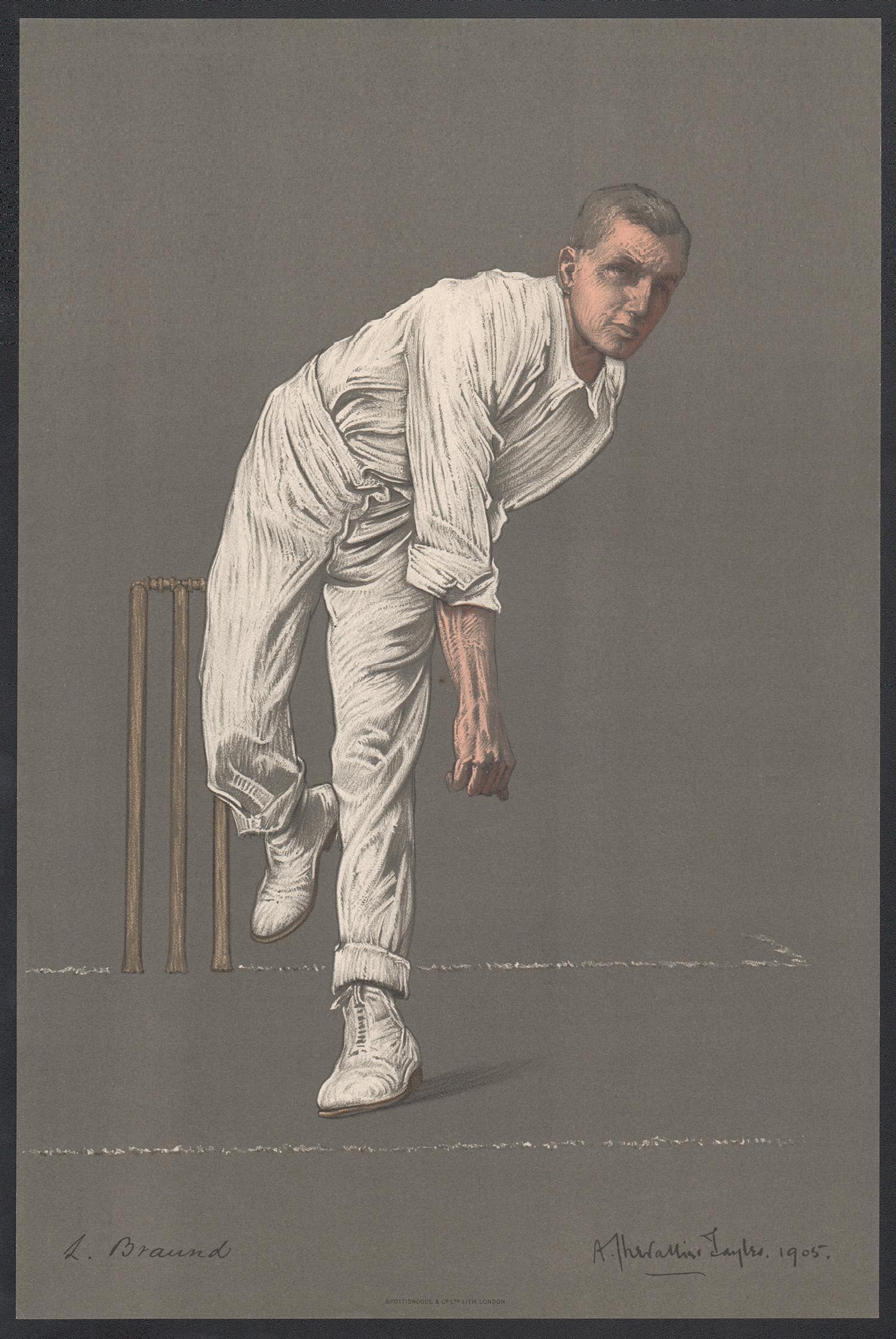 Leonard Braund, Empire Cricketeer, English cricket portrait lithograph, 1905