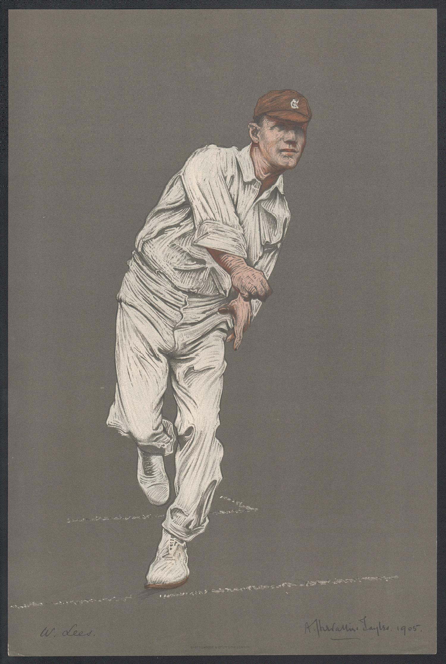 Walter Lees, Empire Cricketeer, English cricket portrait lithograph, 1905