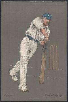 John Gunn, Empire Cricketeer, English cricket portrait lithograph, 1905