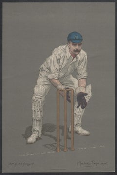 Gregor MacGregor , Empire Cricketeer, Scottish cricket portrait lithograph, 1905