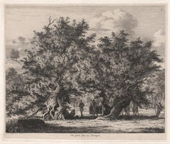 The Great Yew at Forlingal, tree etching by Jacob George Strutt, 1825