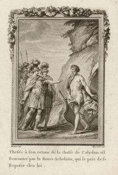 Theseus and Achelous, Ovid's Metamorphoses, French Classical engraving, 1768