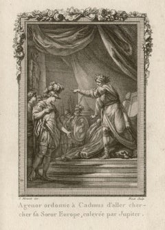 Agenor and Cadmus, Ovid's Metamorphoses, French Classical engraving, 1768