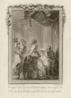 Procne and Tereus, Ovid's Metamorphoses, French Classical engraving, 1768