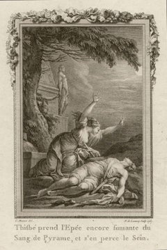 Thisbe and Pyramus, Ovid's Metamorphoses, French Classical Myth engraving, 1768