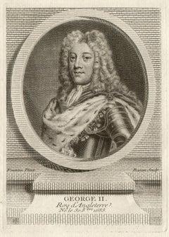 George II, King of England, royalty portrait engraving, circa 1780