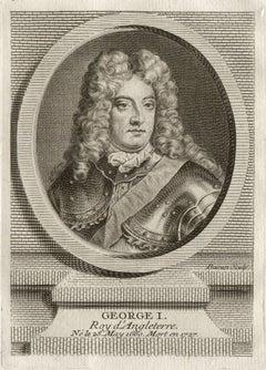 George I, King of England, royalty portrait engraving, circa 1780