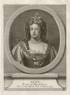 Queen Anne, Queen of England, royalty portrait engraving, circa 1780