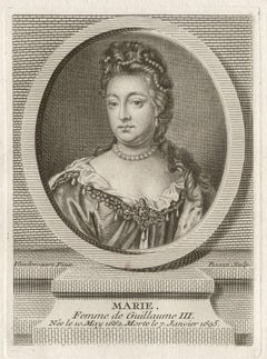 Queen Mary, Queen of England, royalty portrait engraving, circa 1780