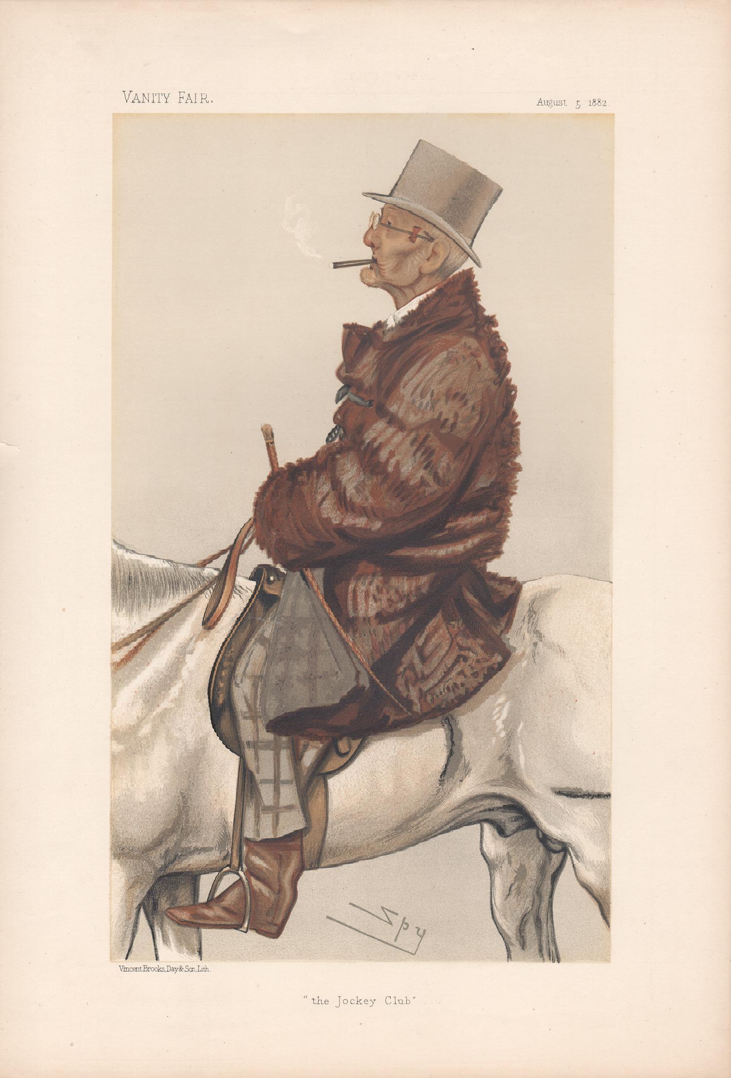 'the Jockey Club', Vanity Fair equestrian portrait chromolithograph, 1903