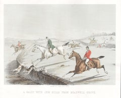 A Galop with Jem Hills from Bradwell Grove, English hunting lithograph, c1850