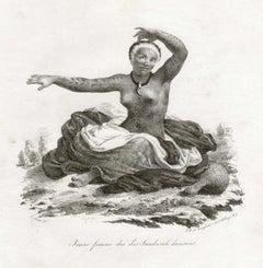 'Jeune Femme des Iles Sandwich dansant', Hawaii, antique lithograph print