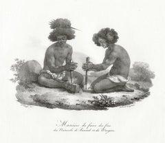 Maniere de faire du feu des Naturels de Rawack et de Wacgiou, lithograph