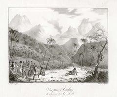 'Vue prise a Ombay et entervue avec les naturels', Freycinet lithograph