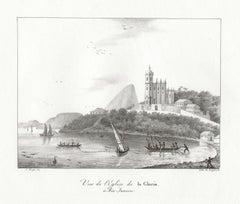'Vue de l'Eglise de la Gloria a Rio Janeiro', Brazil, Freycinet lithograph