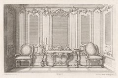 Rococo interior design and furniture, German mid 18th century etching