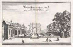 Gardens of the Chateau Rueil, Paris, France, mid 17th century engraving