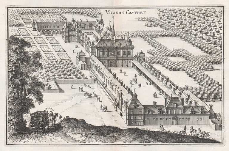 Matthaeus Merian  Landscape Print - Viliers Costret, French chateau, architectural plan, mid 17th century engraving