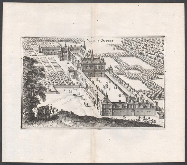 Viliers Costret, French chateau, architectural plan, mid 17th century engraving - Print by Matthaeus Merian