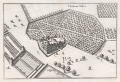 Chateau Valeri, French chateau, garden estate plan, mid 17th century engraving