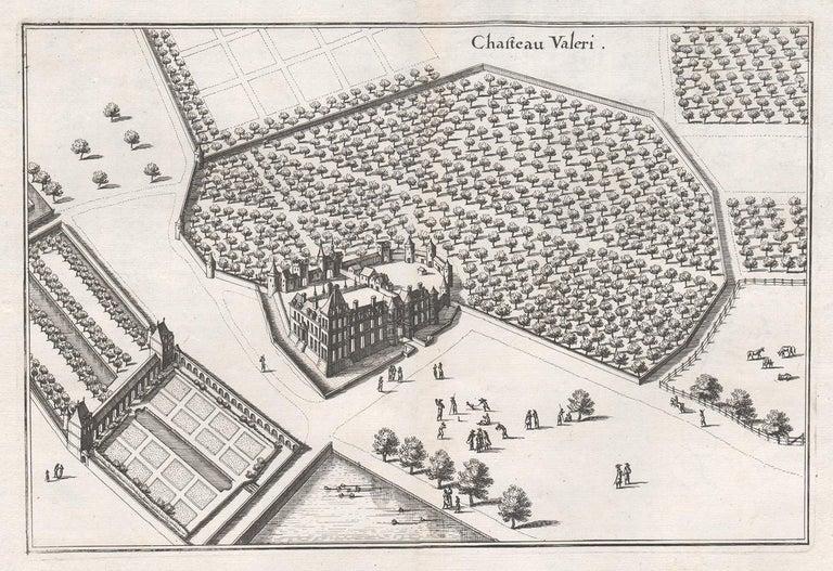 Matthaeus Merian  Landscape Print - Chateau Valeri, French chateau, garden estate plan, mid 17th century engraving