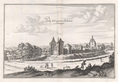 Castle of Irrois in Champagne, French architecture, mid 17th century engraving