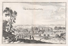 Castle and Town of Tanlay, French architecture, mid 17th century engraving