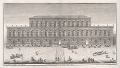 Palazzo Pitti, Florence, Italy. 18th century architectural view engraving