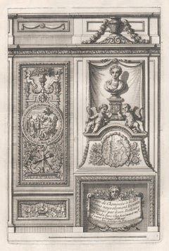 Set of 6 French Louis XIV period chimney-piece design engravings by Jean Dolivar