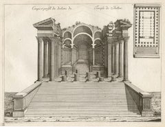 Temple of Baalbec, Lebanon, 2 Roman architectural engravings, Jean Marot