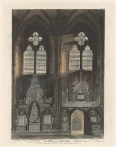 4th & 5th Window, South Aisle, Westminster Abbey, architecture aquatint, 1811