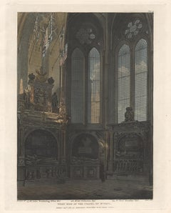 West Side of the Chapel of St Paul, Westminster Abbey, architecture aquatint