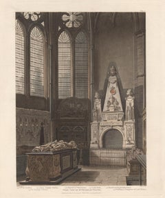 West View of St Nicholas Chapel, Westminster Abbey, architecture aquatint
