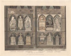 West Side of Poet's Corner, Westminster Abbey, architecture aquatint