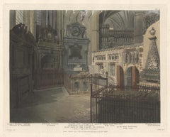 East Side of the Chapel of St Paul, Westminster Abbey, architecture aquatint