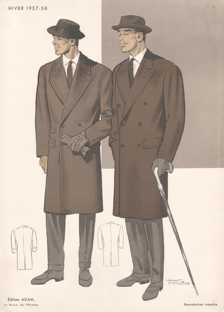 Hemjie French Mid Century 1950s Mens Fashion Design Vintage Suit Lithograph Print For Sale At 1stdibs