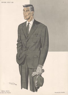 French Mid-Century 1950s Mens Fashion Design Vintage Suit Lithograph Print
