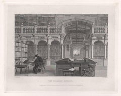 The Bodleian Library. Oxford University. Antique English 19th century engraving