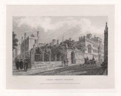 Corpus Christi College. Oxford University. Antique English C19th engraving