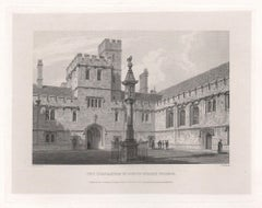 Quadrangle of Corpus Christi College. Oxford University. Antique C19th engraving